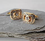 #8: TiedRibbons® Crystals studed Golden shirt cufflinks for men | cufflinks gift | cufflinks set for men | cufflinks for shirt | Wedding anniversary gift for Friend | Birthday gifts for Brother
