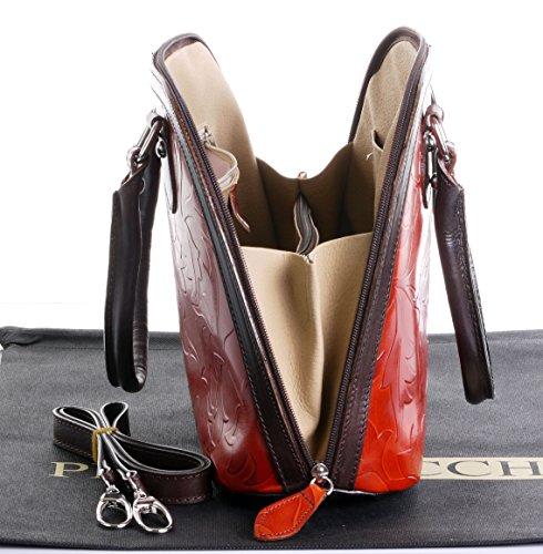 Cuoio italiano foglia Design goffrato Bowling stile manico mano borsa Shoulderbag.Include una custodia protettiva marca Arancione e marrone