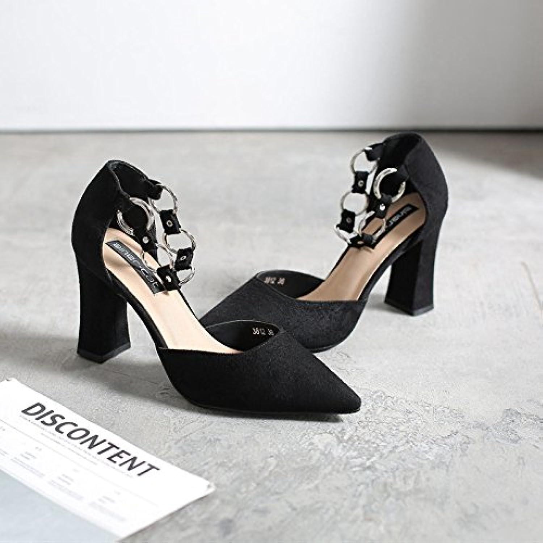 Fente de serrage serrage de en avec seul Chaussures agrave; ressort en m eacute;tal eacute;pais Chaussures en satin avec une pointu pour - B07BNMS8C3 - 35f23c