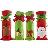 QILICZ Weihnachten Weinflasche Abdeckung Tasche,4stk Weihnachten Flasche Kleidung Weihnachten Tischdekoration Taschen Weihnachts Anzug Kostüm Weinflasche Wrap-Abdeckungs Beutel Dekoration