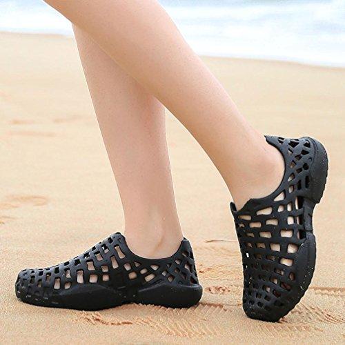 LHWY Herren Slipper, Männer Damen Schuhe Unisex Aushöhlen Casual Paar Strand Sandale Flip Flops Schuhe Sommer Rutschfest Regenstiefel Schwarz