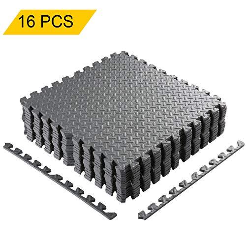 Bodenschutzmatte 60 x 60cm Schutzmatte Trainingsmatte Puzzlematte | Poolmatte | Unterlegmatten | Fitnessmatten für Bodenschut für Bodenschutz, Büro, Fitnessraum