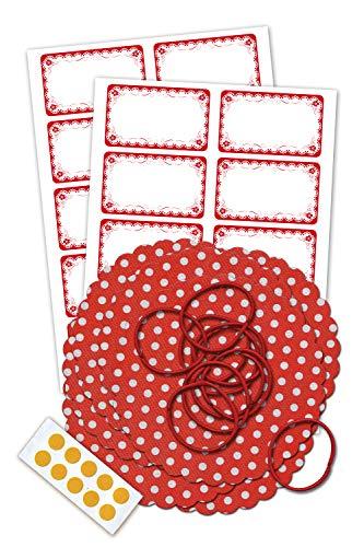 Marmeladendeckchen-Set inklusive 10 rot-weiß gepunktete Vliesdeckchen 135 mm, 10 Schlaufen, 10 Doppelklebepunkten und 20 Etiketten mit Rüschen -