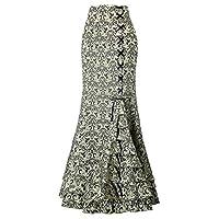 AIHOME Fishtail Life Skirt Ladies Retro Victorian Style High Waisted Ruffles Jacquard Long Skirt