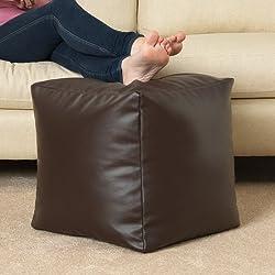 Puff CUBO de imitación cuero MARRÓN OSCURO 'MOCA' – Puff reposapiés de Bean Bag Bazaar®