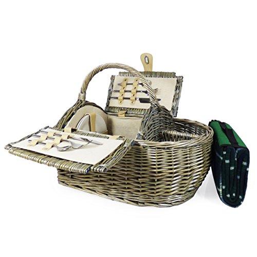 Luxus Picknickkorb 2Personen & Zubehör–Boot Style Collection, inkl. Qualität Grün Tartan Picknickdecke–Geschenk Ideen für Vatertag, Valentinstag, Muttertag, Geburtstag, Business, Hochzeit, Jahrestag und Corporate
