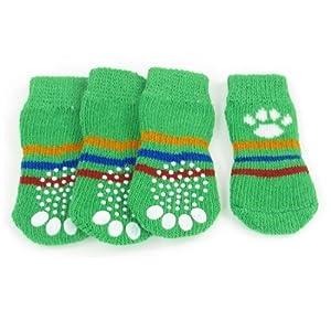 SODIAL(R) 4 x Chaussettes de chien douces chaudes antiderapantes Vertes Taille M