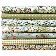 LUFA La tela verde de la serie 7pcs / set empaqueta la tela de costura impresa flor de la tela del remiendo de la tela de algodón los 50x50cm