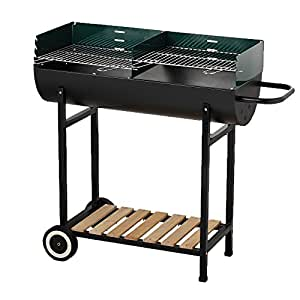 BACKYARD HALF BARREL CHARCOAL DRUM BARBECUE BBQ + FREE 3PC TOOL KIT