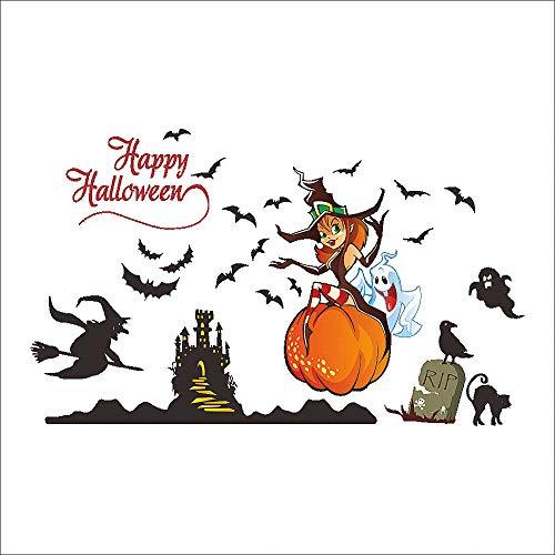 Happy Halloween Kürbisse Spuk-Friedhof Hexe und Fledermäuse Grab Wand Aufkleber Fenster Aufkleber Halloween Dekorationen für Wohnzimmer Kinderzimmer Halloween Party