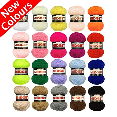 Marriner Yarns Midget Double Knit Starter Bumper Pack | 20 x 25g Balls of Assorted Double Knitting Yarn | Colours Will Vary Depending On Availability | 100% Acrylic Knit Pack