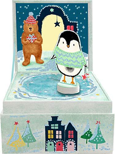 Seasons Greetings Spieluhr mit magnetischer Pinguin Figur Leise rieselt der Schnee 10x10x8,5cm