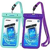 【2 Pack】Pochette étanche Mpow Housse étanche [Certifiée IPX8] Boîtier/Sac/ Etui/Housse/Coque étanche pour Apple iPhone 7/7 Plus/6/6S/6 Plus/SE/5S/5/5C, Galaxy J3/J5/A3/A5/S8/S8 PlusS7/S7 Edge/S6/S6 Edge/Note 4, Huawei P8/P8 Lite/P9/P9 Lite, 6 Pouce, Vert + Violet