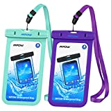 Mpow Waterproof Case, IPX 8 Cellphone Dry Bag for iPhone, Google Pixel, HTC, LG, Huawei, Sony, Nokia (2-Pack, Green&Purple)