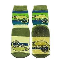Weri Spezials Unisex-Children Terry ABS Chameleon Slippers Anti Non Slip Socks 3-4 Years Green