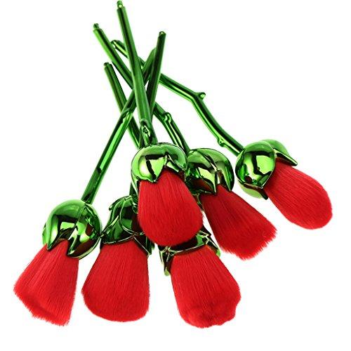 Sharplace (6 Stück Packung) Make-up Pinsel Set, Rose Blume Design, für Gesichts Foundation Brush Concealer Blush Brush Highlighter Puderpinsel Lidschattenpinsel - Dunkelgrün (Blume Pinsel)