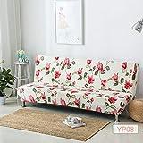 SSDLRSF Printing Armless Schlafsofa Abdeckung Klappsitz SchutzhülleStretch deckt billige Couch Protector Elastische Bank Futon Cover (150-215cm), 6315,150 cm bis 185 cm