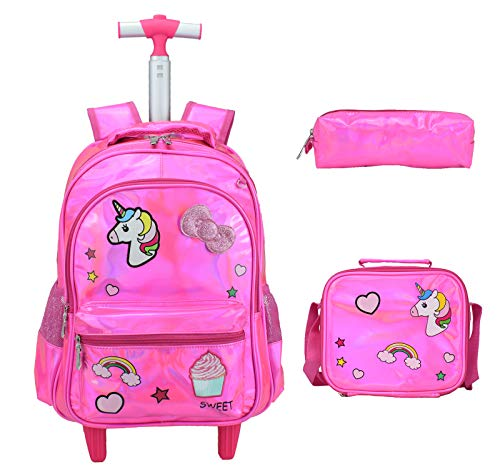 Mochila Unicornio Mochila Escolar con Ruedas,Carros para Mochilas Escolares 3 in 1 (Rosa)