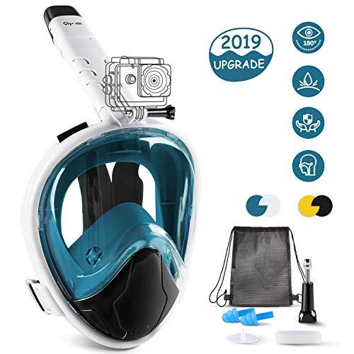 Glymnis Tauchmaske Schnorchelmaske Easybreath Faltbare Vollmaske mit 180° Sichtfeld Anti-Fog und Anti-Leck Technologie für Alle Erwachsene und Kinder S/M (Verpackung MEHRWEG)