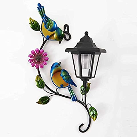 SOLAR BIRD WALL PLAQUE Solar Lantern With Colourful Bird Decoration With Glass Inserts