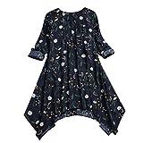 NPRADLA 2018 Frauen Vintage Blumendruck Gefaltete Langarm unregelmäßige Bluse T Shirts