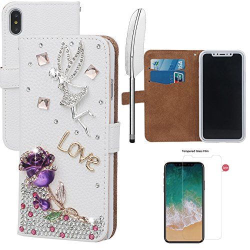 xhorizon MLK Boutique à la main Bling Glitter Housse de portefeuille Elégante et Rose Boîtier de protection en plein corps pour iPhone X / iPhone 10 (2017) avec un stylet DIY61 Rose pourpre +9H Glass Tempered Film