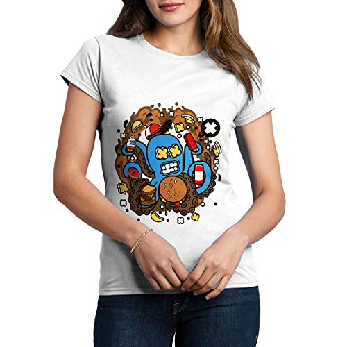 C573WCNTW Damen T-Shirt Junk Octopus Food Kitchen Hot Dog Chips Fries World Cuisine Take Away Chef BBQ Knife Classic(X-Large,White)
