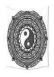 iPrint Ying Yang, Wandteppich, Mandala-Muster mit Yin Yang Zeichen mit Paisley, Motiv Karma Kosmos Wohnzimmer Schlafzimmer Dorm Decor, Schwarz, Weiß, 59W By 80L Inch