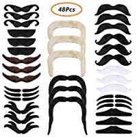 iiniim 48pcs Fake Moustaches Self Adhesive for Mexican Fancy Dress, Cowboy Pirate Costume