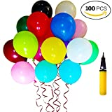 Palloncini Colorati e Pompa, 100 Pz Assortiti Colore Luminoso Palloncino Multicolor Balloons in Lattice per Una Festa di Compleanno - 10 Inch