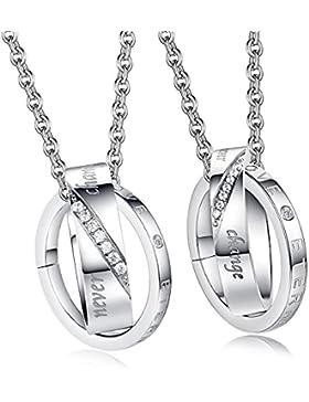 Kim Johanson Pärchen Halsketten für verliebte aus Edelstahl mit doppelten Ringen in Silber und Gravur inkl. Schmuckbeutel