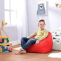 Bean Bag Bazaar Kids Hi-Rest Chair, Red, Medium Large, Indoor Outdoor Bean Bags for Children, Bedroom, Living Room, Garden