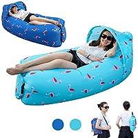Cama/sofá/barco de aire portátil de KKG®, hinchable, resistente al agua, con parasol, compacto y ligero, Light blue-Eternal Flamingos