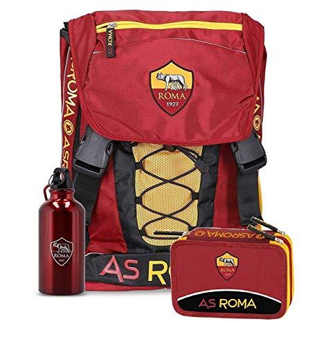 Zaino estensibile scuola AS Roma + Astuccio completo 3 zip + Borraccia moschettone Prodotto Ufficiale Originale 2019/20