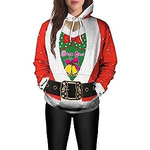 MIRRAY Damen Weihnachten Pullover Santa Claus Gedruckt Langarm Caps Oberteile Sweatshirts Bluse Tops Rot M L XL 2XL
