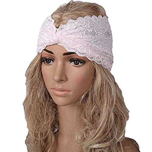 Likecrazy Kopftuch Wrap Frauen Stirnband Damen Twist Sport Yoga Headwear mit Spitze Schleife verstellbar Kopfband Frühling Sommer Häkelarbeit Stirnbander