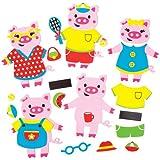 Kits de decoraciones combinables de cerditos que los niños pueden crear, decorar y exhibir - Juego de manualidades creativas para niños (pack de 6).