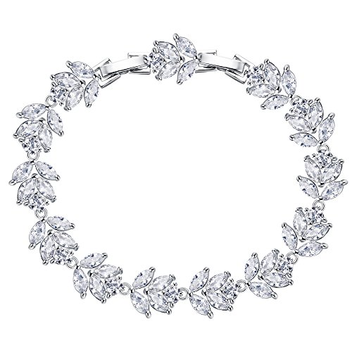 Flyonce Full Zirkonia Dezember Birthstone Leaf Braut Roman Tennis Armband Klar Silber-Ton