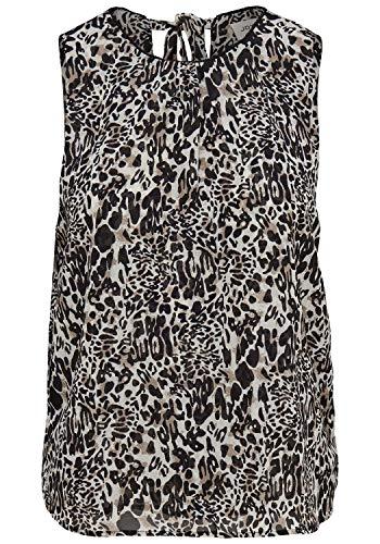 ONLY Leo Damen Top Blusenshirt Kurzarm-Bluse Mit Rundhalsausschnitt, Größe:36, Farbe:AOP Leo