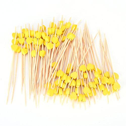 Sevenmye 100Stück Holz-Cocktail-Stäbchen, Holz, Bambus, Zahnstocher, Gabeln, für Obst BBQ Cupcake Hochzeit Party Deko gelb -
