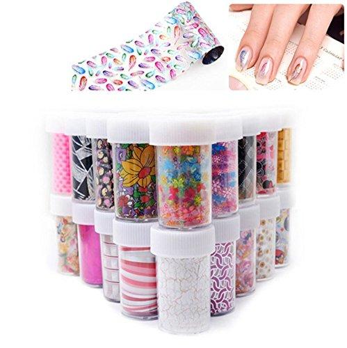 Stickers pour ongles Xichen® Starry Sky, pour Nail Art, feuilles, adhésif de transfert, brillant, (12) (4 cm x 100 cm), pour enfants, motifs colorés, de dessins animés