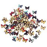 Colorato Disegno Bottoni In Legno Farfalla Colorati Per Cucire 100pcs Fai Da Te Artigianale