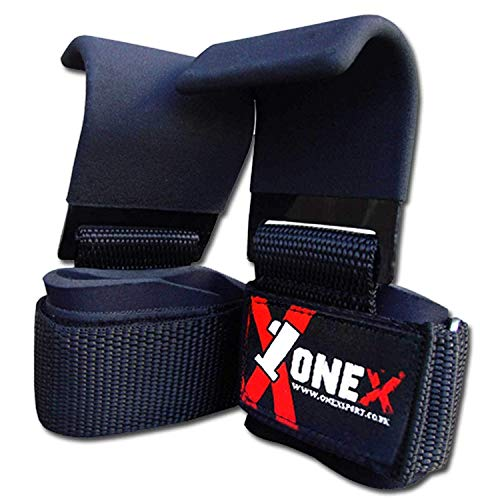 ONEX Zughilfen Krafttraining Mit Metallhaken für Kreuzheben Zughilfe Haken Kraftsport Wrist Wraps Bodybuilding Gewicht Lifting Straps Bar Grip Unterstützung Handgelenk Wrap Handgelenkbandage Fitness