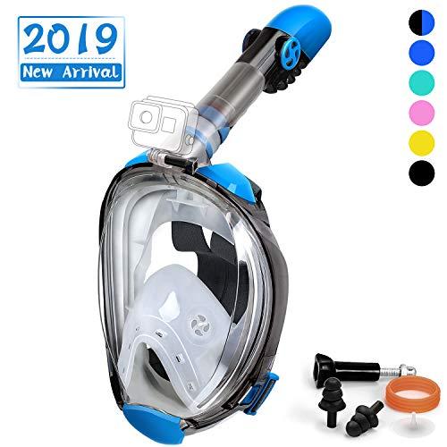 OUSPT Máscara de Buceo, Máscara de Snorkel 180 ° Facial Completa Silicona con Soporte Cámara Impermeable Anti-Fuga Tamaño Universal para Adultos y Niños