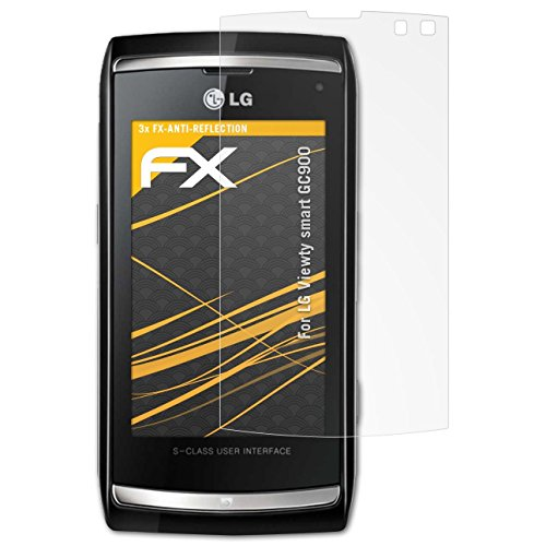 atFolix Panzerfolie kompatibel mit LG Viewty smart GC900 Schutzfolie, entspiegelnde und stoßdämpfende FX Folie (3X) Viewty Smart Screen
