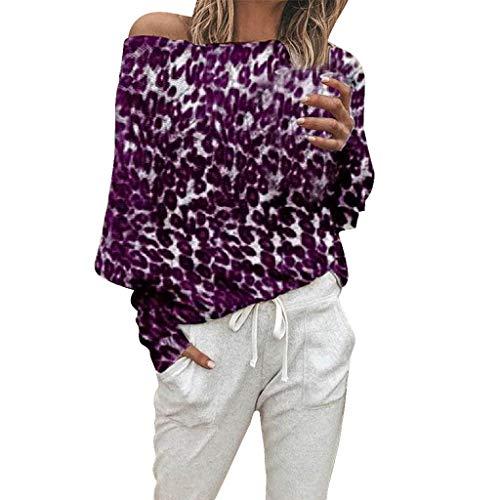 Preisvergleich Produktbild Tianwlio Damen Lässige Langarmshirt Hoodie Pullover Weihnachten Mode Leoparden Muster Langarm aus Schulter Tops Bluse Lila L