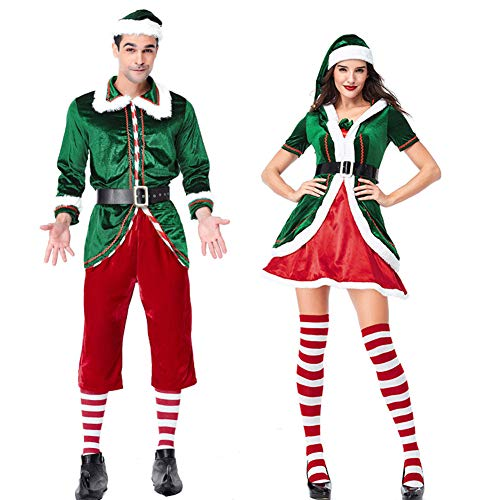 Couples Matching Elf Costumes for Man and Women. Traditional red and green colours