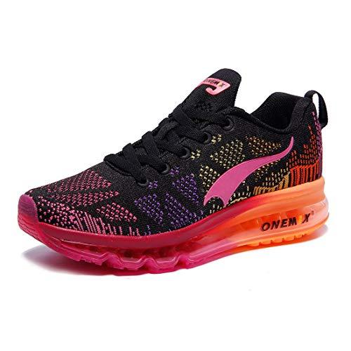 ONEMIX Damen Laufschuhe Air Sportschuhe Sneaker Turnschuhe Running Fitness Straßenlaufschuhe schwarz rot