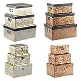 DRULINE Aufbewahrungsbox mit Deckel Gold Silber Deko Box Kiste Truhe Kleidung Schmuck (L/Deckel abnehmbar, Gold)