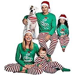 Hibote Conjunto Pijamas Familia Navidad a Juego con Dos Piezas Top Manga Larga Pantalones Rayas